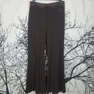 Bebe | Brown Flare Pants Lace around Waist size 2